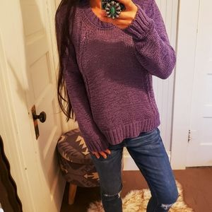Prana Outdoor Cozy Knit Organic Purple Sweater M